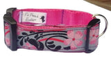 Pink & Grey Flower Dog Collar
