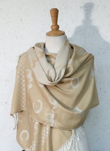 Genuine Pashmina Equestrian Wrap Scarf Old Gold