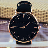 Elie Beaumont Personalised Leather Watch in Black
