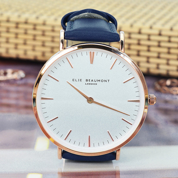 Elie Beaumont Personalised Leather Watch in Navy