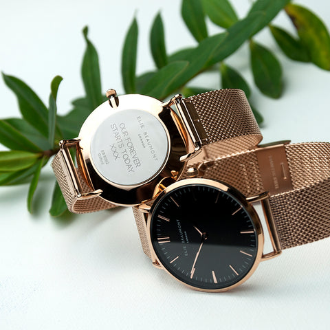Elie Beaumont Personalised Rose Gold Mesh Strapped Watch With Black Dial