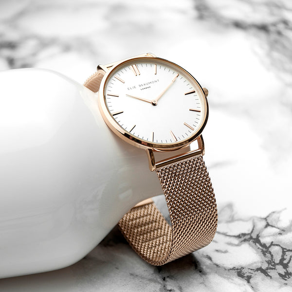 Elie Beaumont Personalised Rose Gold Mesh Strapped Watch With White Dial