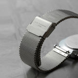 Elie Beaumont Personalised Metallic Mesh Strapped Watch With White Dial
