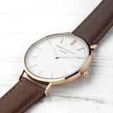 Mr Beaumont Men's Modern-Vintage Personalised Leather Watch In Brown