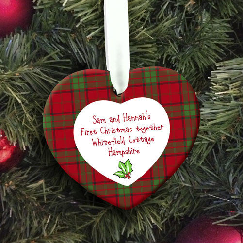 Personalised Holly Heart First Christmas Decoration