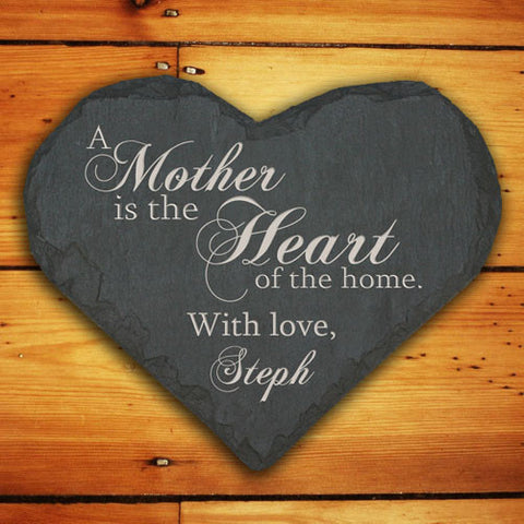 Personalised Mother is the Heart of the Home Slate Heart Keepsake
