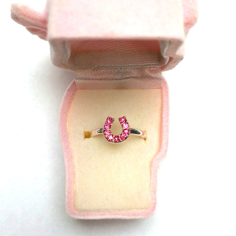 Children's Crystal Horseshoe Ring Pink
