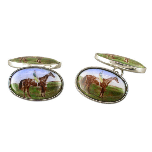 Carina Sterling Silver Racehorse Cufflinks