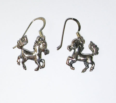 Sterling Silver Prancing Pony Earrings S6