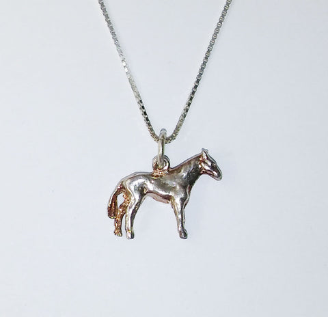 Sterling Silver Thoroughbred Horse Necklace S7