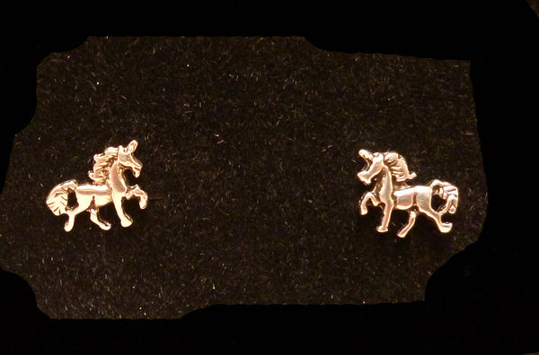 Sterling Silver Unicorn Pony Studs JE15