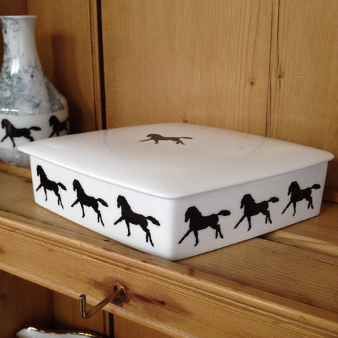 Monochrome Black Horse China Trinket Box