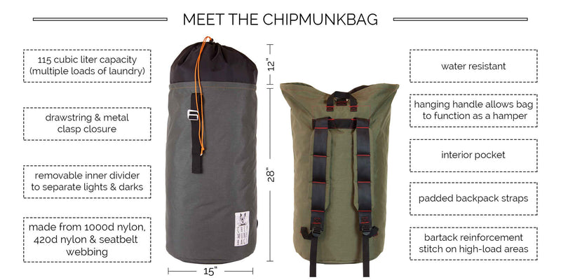 10 Reasons The ChipmunkBag Is Better Than Your Average Laundry Bag, Laundry Backpack, or Laundry Hamper.