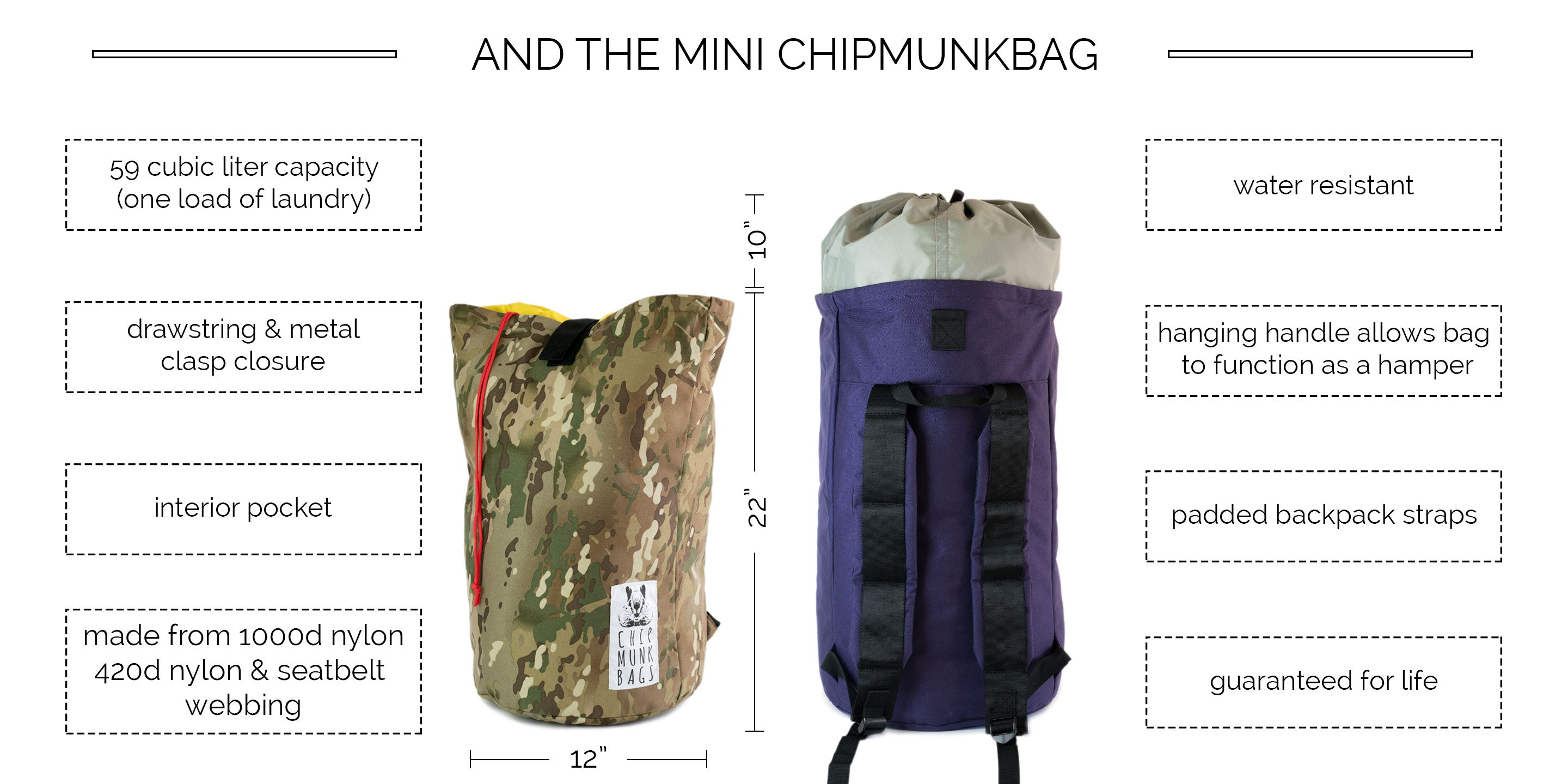 The Mini ChipmunkBag Laundry Bag Description
