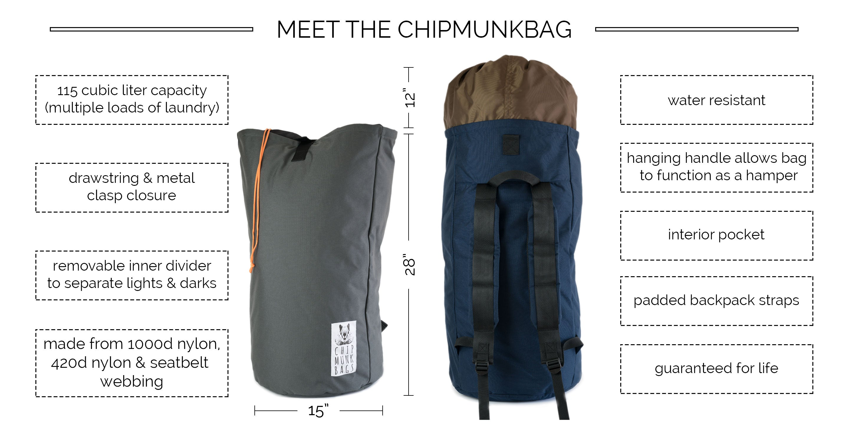 The ChipmunkBag Laundry Bag Description
