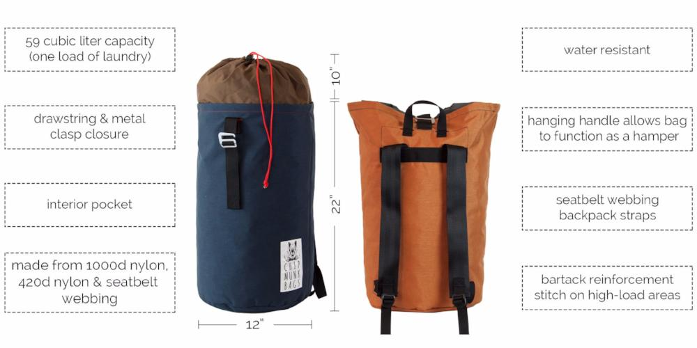 The Mini ChipmunkBag - 59 liter backpack style laundry bag.