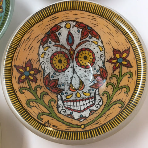 Sugar Skull Fused Glass Bowl