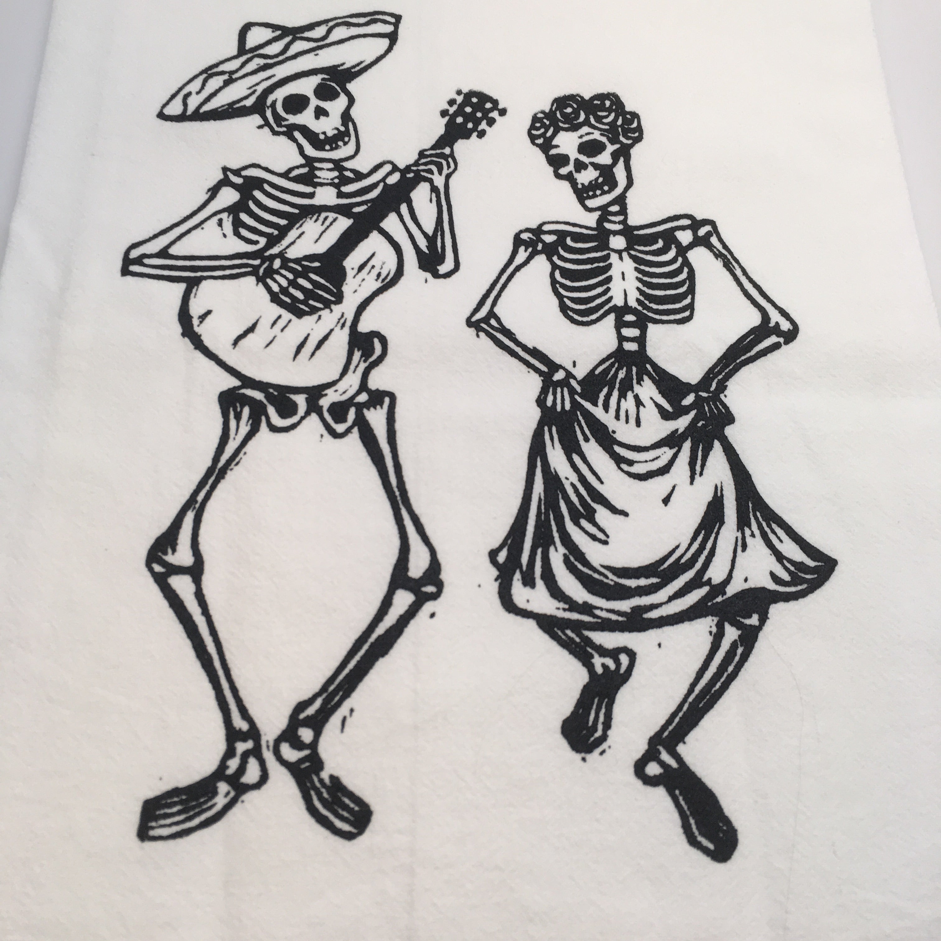 Dancing Skeleton Tea Towel