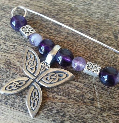 Amethyst & Pewter Butterfly Shawl Pin