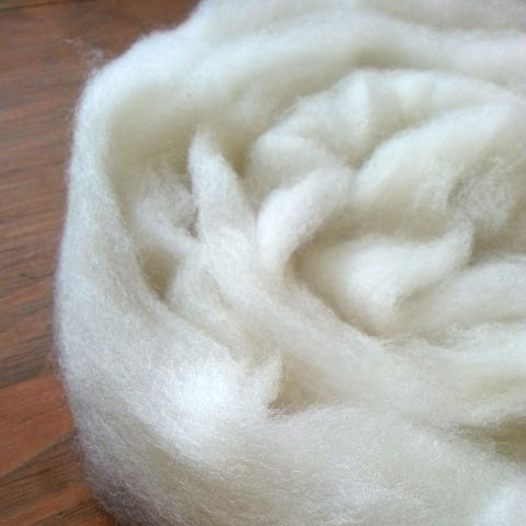 White Corriedale Roving, Colorado-Grown, 4 oz.