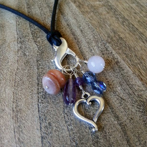 Dawn Gemstone Stitch Marker Necklace - Amethyst, Crystal, Rose Quartz, & Sunstone
