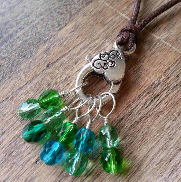 "Green Stitch Marker Necklace, Pewter Clasp and Czech Crystal on 30"" Adjustable Cotton Cord"