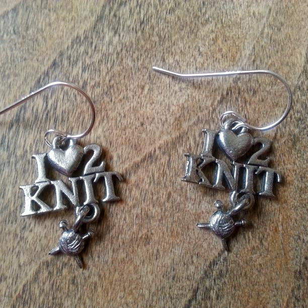 I Love to Knit Earrings - USA Pewter