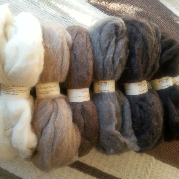 Navajo Churro Wool Roving, Homegrown Natural Colors 4 oz.