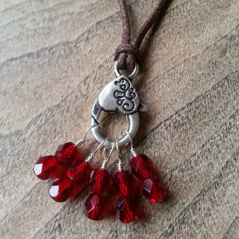 "Garnet Stitch Marker Necklace, Pewter Clasp and Czech Crystal on 30"" Adjustable Cotton Cord"