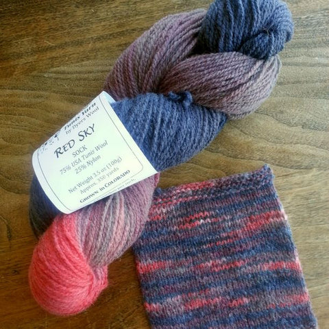 Red Sky Sock Yarn, Colorado-Grown Wool, 3.5 oz