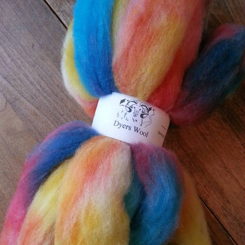 Sunset Hand-Dyed Corriedale Roving, Colorado-Grown, 4 oz.