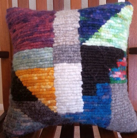 Stained Glass Locker Hooked Wool Pillow