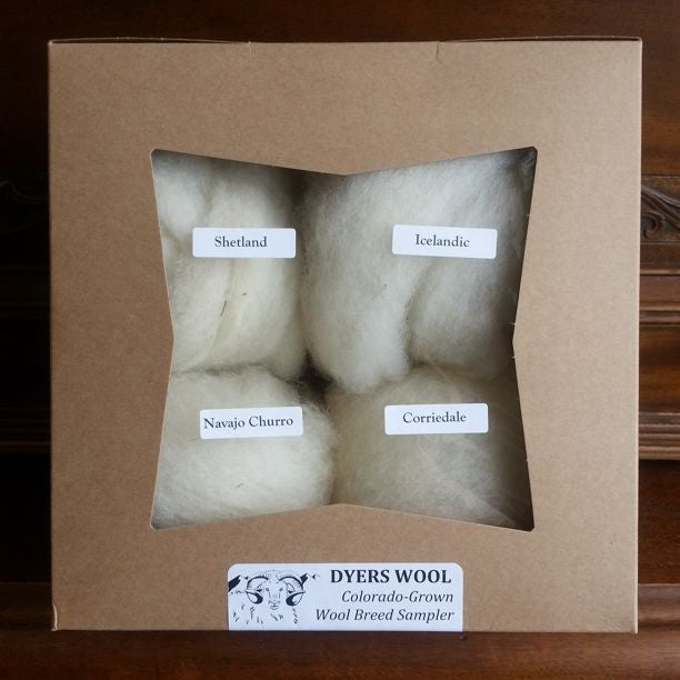 Wool Roving Sampler, White Breeds Colorado-Grown