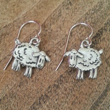 Cute Sheep Earrings - USA Pewter