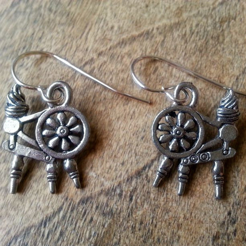 Spinning Wheel Earrings - USA Pewter