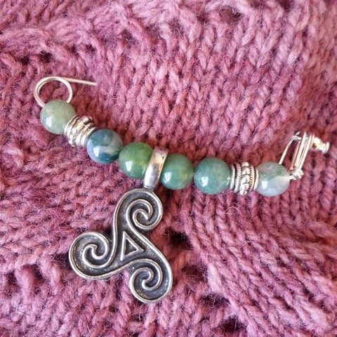 Moss Agate & Pewter Triple Spiral Shawl Pin