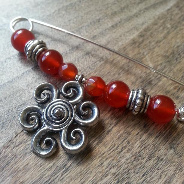 Carnelian & Pewter Sun Shawl Pin