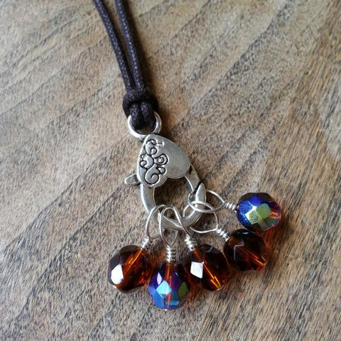 "Topaz Stitch Marker Necklace, Pewter Clasp and Czech Crystal on 30"" Adjustable Cotton Cord"