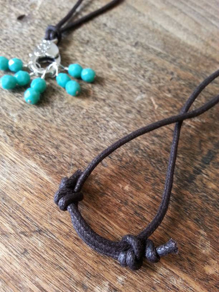 Turquoise Stitch Marker Necklace Pewter Clasp And Czech