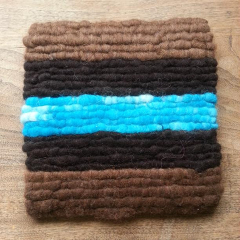 Turquoise Striped Wool Trivet