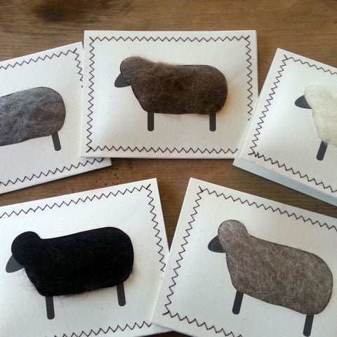 Unique Wool Sheep Notecards, Assorted (Set of 5)