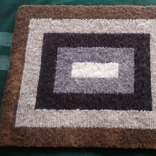 Nested Rectangle Locker Hooked Wool Rug