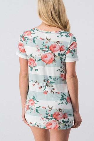 Front Knot Floral Tee