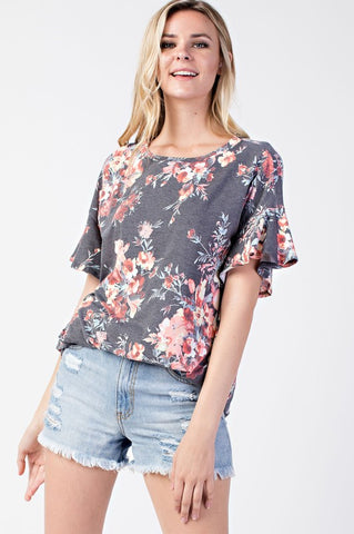 Floral Ruffle Jersey Tee