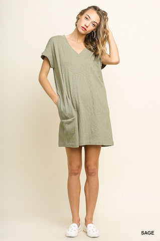 Olive Slub Vneck Pocket Dress