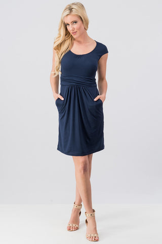 Navy Cap Sleeve Jersey Dress
