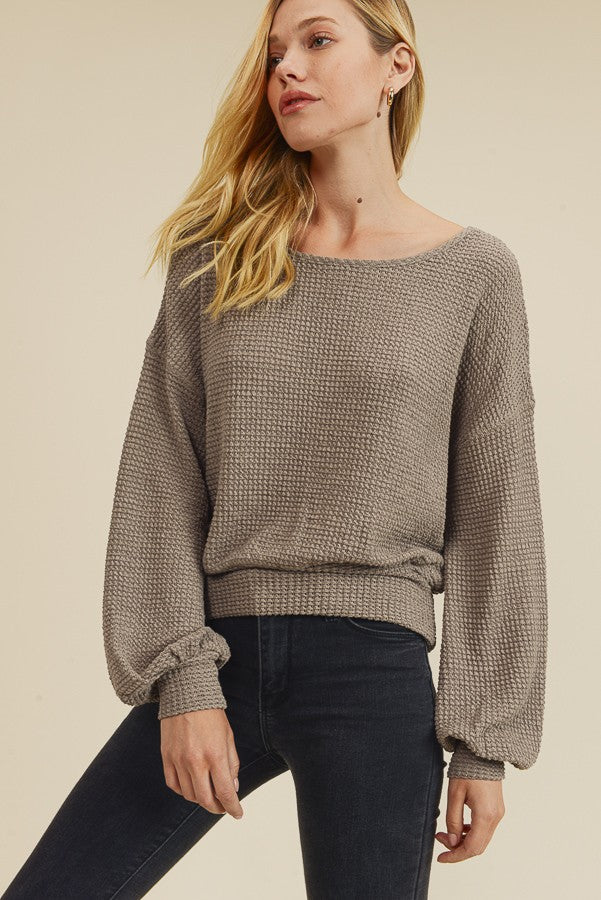 Taupe Waffle Knit Top