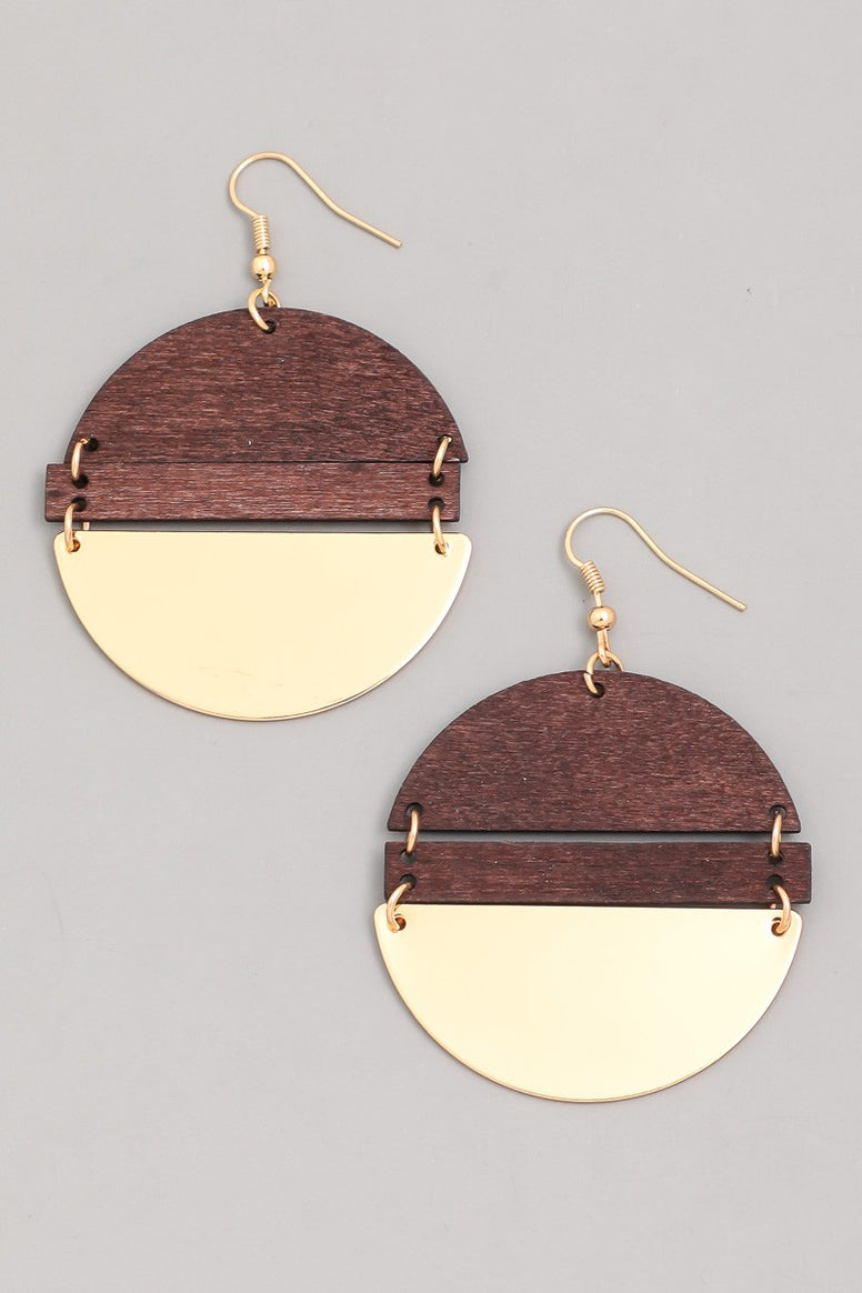 Wooden Disc Drop Earrings