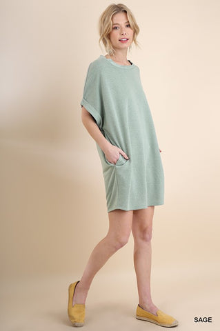 Sage French Terry Pocket Dress