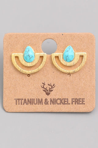 Turquoise Half Circle Stud Earrings